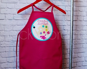 Personalized Art Party Apron - Personalized Painting Apron - Personalized Child's Birthday Apron - Smock - by Pocketbrand