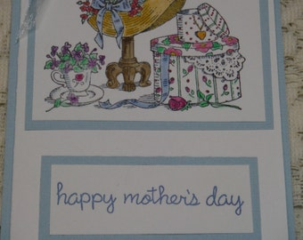 Handmade greeting card; mother's day card;