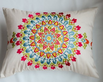 Pink, Turquoise, Gold, LIme, and White Embroidered Medallion Rectangle  Custom Pillow Cover