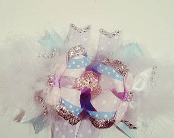 """5"""" High Top Minnie Pink, Blue, and White Hairbow"""