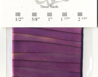 "Hand Dyed Silk Ribbon 15mm 5/8"" Purple Blend 037 - 3 yards Bias Cut"