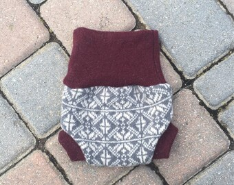 Cloth diaper cover, newborn diaper cover, upcycled wool soaker cover, wool shorties - patterned
