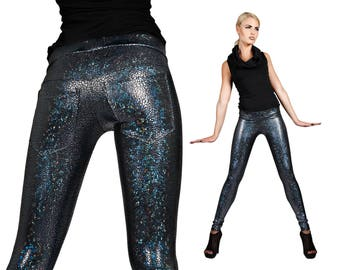 Leggings w. Jeans Back; Holographic Black, Burning Man Leggings, Dancewear, Wasteland Costume, Stage Wear, Holographic Clothing, LENA QUIST