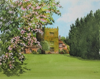 May Blossoms at Turton Tower - Original Fine Art Watercolour Painting - Spring - English Landscapes - Gardens - Flowers - Gifts for Her
