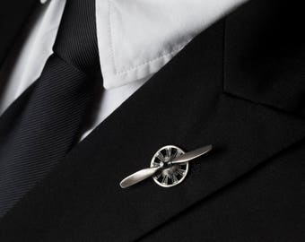Propeller Tie Tack Lapel Pin with Spinning Propeller in Solid Sterling Silver, Great Gift for Airmen