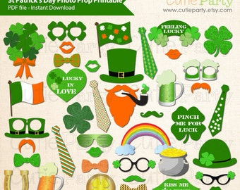 St Patrick's Day Photo Booth Prop, St Patrick's Day Party Decor, Irish Party Decor, Irish Party Printable, 43 ready print images
