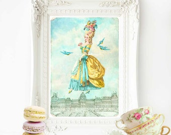 Marie Antoinette French art print, Paris rooftops, A4 giclee