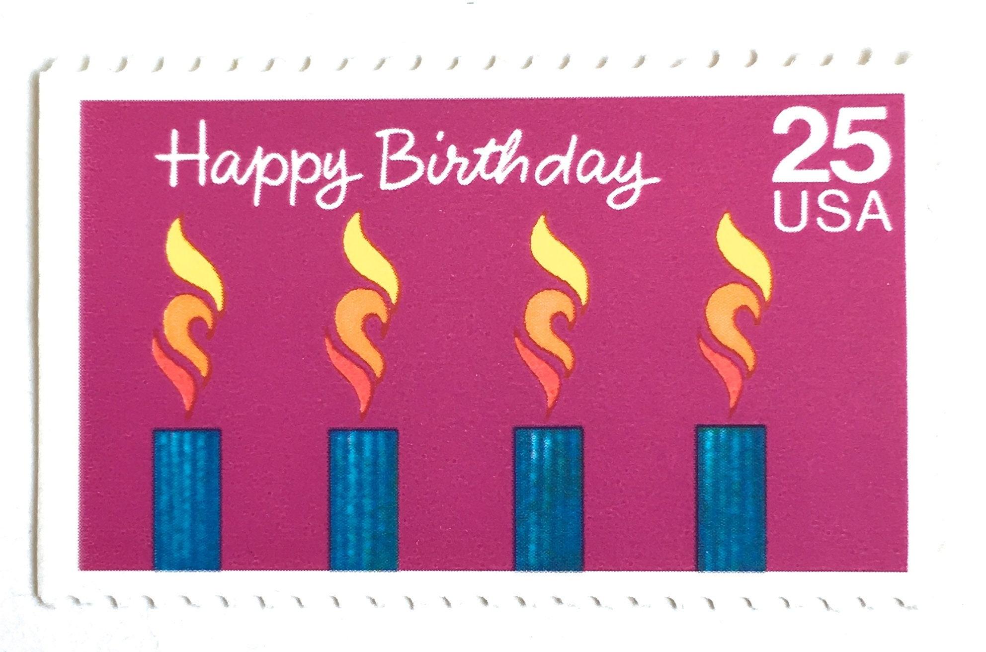 5 Unused Vintage Happy Birthday Postage Stamps // 25 Cent