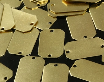 80 pcs Raw Brass 10x16 mm rectangle tag 2 hole connector Charms ,Findings 801R-40