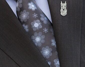 Miniature schnauzer (cropped ears) brooch - sterling silver.