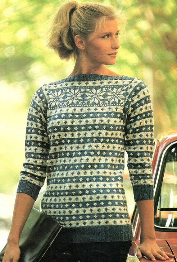 Fair Isle Sweater With Boat Neck Knitting Pattern Pdf