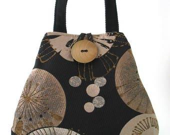 womens handbags, black shoulder bag, purse with pockets, fabric handbag, tote bag converts to hobo bag, retro purse