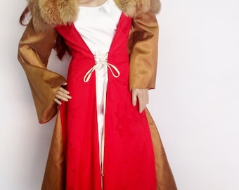 Winterfell, medieval dress; red & gold, russian red fox collar, #WIN0052