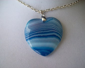"Blue Striped Agate Heart Stone Pendant 2"" long"
