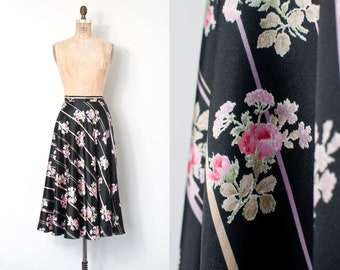 vintage 1980s skirt | 80s rose print silk midi skirt | Judy Hornby Couture (extra small xs)