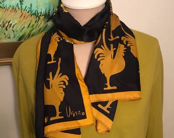 Vintage VERA Scarf Roosters in Gold on Navy Blue Nylon Retro Accessories Head Wrap Gifts Under 20