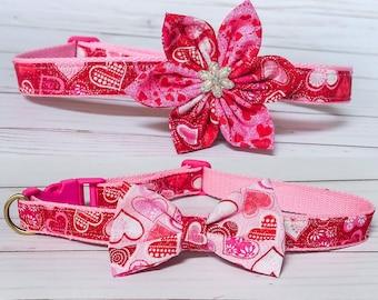 Valentine dog collar, Valentine's day bow dog collar, Girl Flower dog collar, Pink Heart dog collar, Glitter dog collar, small dog collar