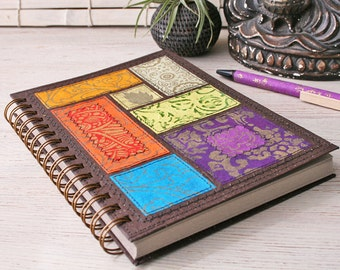 Blank Recycled Notebook / unlined notebook / A5 spiral notebook / rainbow journal / sketchbook / art journal / travel journal / eco friendly