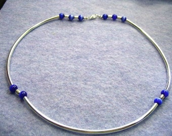 Modern Minimal Blue Bead Necklace, Silver Tube Minimal Mens Or Womens Unisex Jewelry, Handmade Blue Glass Beaded Necklace
