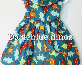 Girl dinosaur dress, girly dinosaur dress, dinosaur dress, pink dinosaur dress, first birthday dress, girly dino dress, sleeved baby dress