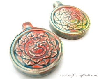 2pc Ceramic Ohm Pendants, High Fired Raku Clay Beads, 30mm