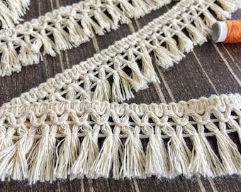Unbleached Natural Cotton Tassel Fringe Trim By The Yard - Undyed Cotton Tassel - Bohemian Tassel Trim, Boho Tassel Trim, Tribal Tassel Trim