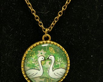 Swan love cameo necklace