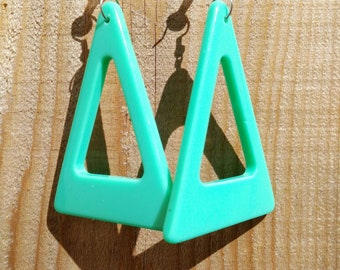 80s turquoise triangle drop earrings.