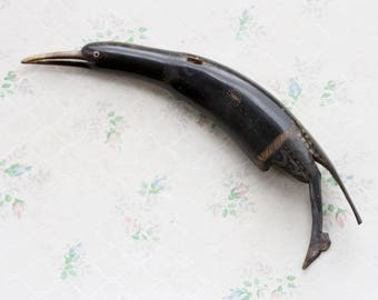Cow Horn Sculpture - Strange Dark Bird - Taxidermy - Carved and Polished Horn