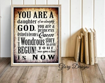 PRINTABLE, Bible Verse, Daughter of the King, Inspirational quote printable, Scripture printable, Home Decor, Office Printable