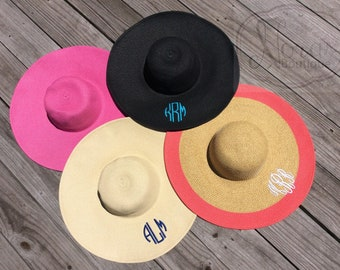 Monogram Floppy Beach Hat | Striped Hat | Straw Hat | Beach Hat | Monogrammed Hat | Derby Hat