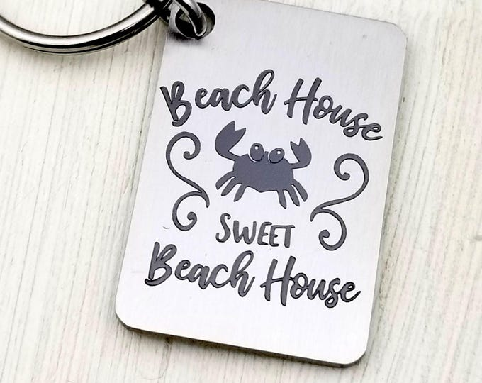 Laser engraved Beach House Sweet Beach House Key Chain, summer, fun in the sun, keys to the beach house, summer living, real estate