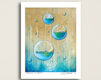 Traveling In Circles - sailboats in bubbles - Limited Edition Signed 8x10 Matte Print (9/10)