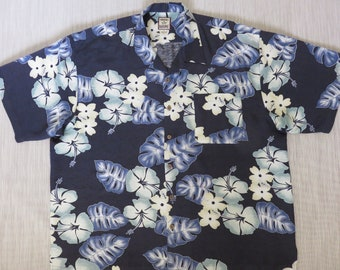 TOMMY BAHAMA Shirt Hawaiian Aloha Shirt Funky Flowers Mod Floral Print Resort Wear 100% Silk Mens Camp - 2XL - Oahu Lew's Shirt Shack