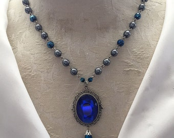 Blue & Silver Raven House Wizard Necklace