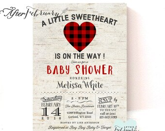 Rustic Sweetheart Baby Shower Invitation Valentine Baby Shower Invitation // Lumberjack Baby Shower // Printable OR Printed No.1414BABY