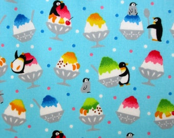 Fabric, Shave Ice and Penguins, Turquoise, Zoo Visit, Cosmo, By the Yard