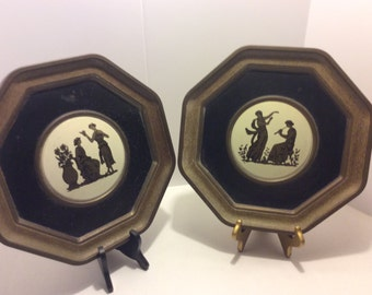 Large  Vintage Tin Pictures, Set of 2 Octagon Shaped Victorian Scenes, Shabby Chic, Room Decor