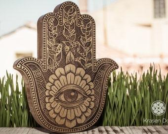 Hamsa Wooden Hand Sacred Geometry Wall Art Hanging SignHome Living Home Decor