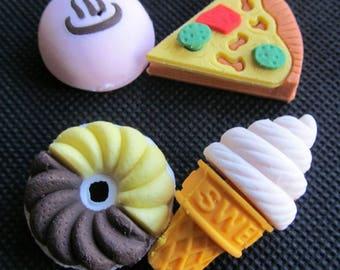 """Set of 4 """"Food"""" erasers too greedy Kawaii :)"""