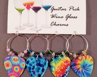 """Guitar Pick Wine Glass Charms """"Tie Dyes"""""""