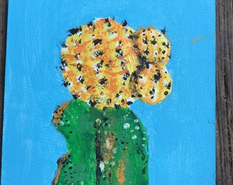 Hand painted //Yellow moon cacti 1.//