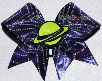 Galaxy Saturn 3-D glitter  Rhinestone  Cheer Bow  by FunBows !