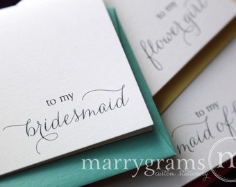 To My Bridesmaid, Maid of Honor, Wedding Party Wedding Thank You Cards-Bridesmaid Thank You Card, Matron of Honor (Set of 4) CS01
