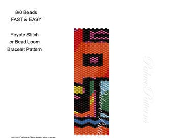 8/0 Seed Bead Weaving Bracelet Pattern For Peyote Stitch or Bead Loom Weaving - Pattern92 for 8 Beads - 8/0 Seed Bead Pattern