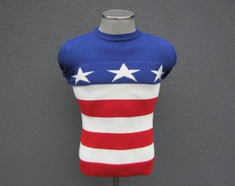 Vintage American Flag Sweater Size Small / Independence Day Americana Jumper / 4th of July Parade