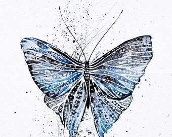 Blue butterfly Original Watercolor ink Painting - moth  /  insects  - Fine Art  drawing / wall art / spring gift idea by Nora