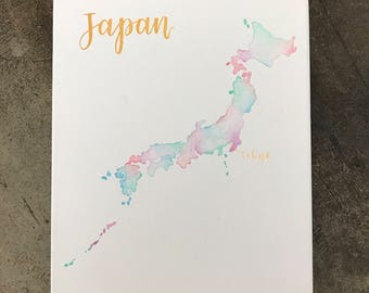 Watercolour Map Painting - Single Country