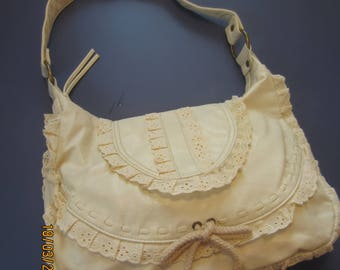 Boho Hobo Bag No Boundaries , Stone/Almond NEW Vintage, Cute, and Lacy - SALE 10% Off