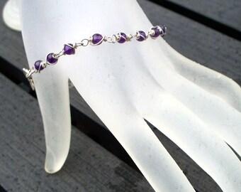 Amethyst Bracelet, February Birthstone, Argentium Sterling Silver Wire Wrapped Dark Purple Amethyst Gemstone Bracelet by LoveThemBeads